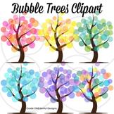 Tree Clipart, 4 Seasons Abstract Trees, Bubble Trees