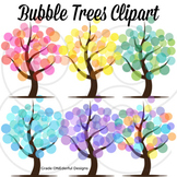Tree Clipart, 4 Seasons Abstract Trees, Bubble Trees