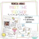 Whimsical Animals Meet The Teacher Templates! Editable + 3