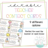 Whimsical Animals Teacher Contact Cards! Perfect for Open House!