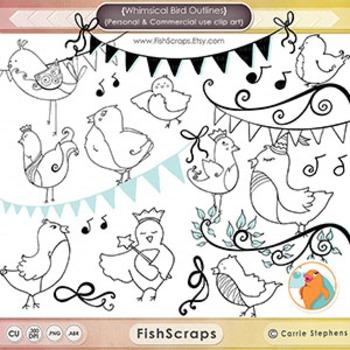 Whimsical Bird Black Line Art, Cute Bird Outlines, PNG Birdie Images + PS Brush