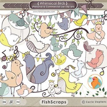 Whimsical Bird ClipArt, Birthday Birdie, Cute Bird Clip Ar