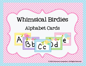 Whimsical Birdies Alphabet Cards for Word Wall Headers, Centers, Etc.