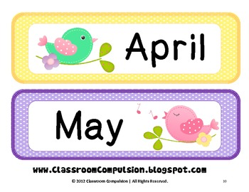 Whimsical Birdies Bird Calendar Set