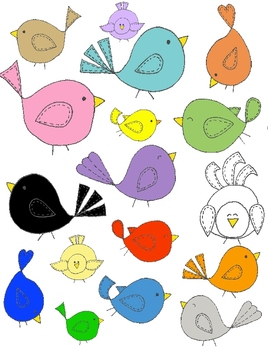 Whimsical Birds Clip Art: 42 PNGs of Birds, Trees, and Leaves