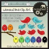 Whimsical Birds Clip Art Bundle: (Commercial Use Graphics)