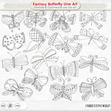 Whimsical Butterfly Doodle Line Art, Hand Drawn Butterflies Clip Art PNG