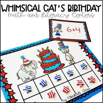 Whimsical Cat's Birthday Celebration Math and Literacy Centers