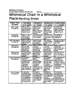 Whimsical Chair in a Whimsical Place Marking Sheet