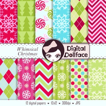 Whimsical Christmas Digital Papers / Colorful Holiday Background Patterns