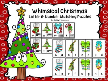 Whimsical Christmas Letter & Number Matching Puzzles
