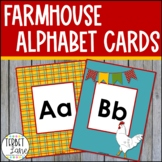 Whimsical Country Print and Cursive Alphabet Cards