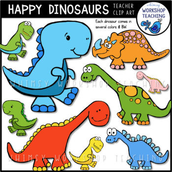 Dinosaurs Clip Art Bundle (51 pngs) Whimsy Workshop Teaching
