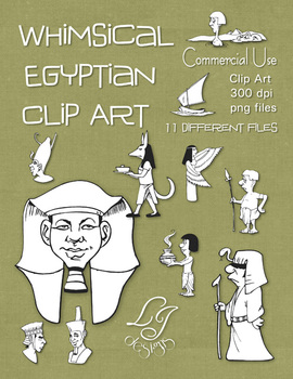Whimsical Egyptian Clip Art - Commercial Clip Art for Classroom Creations