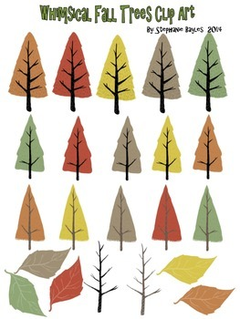 Whimsical Fall Trees Clip Art