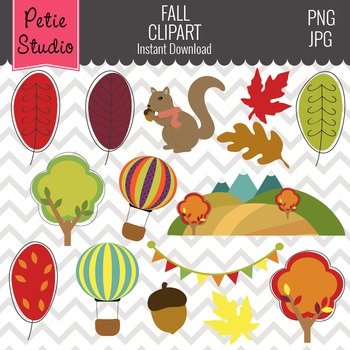 Whimsical Fall Trees Clipart // Autumn Trees // Woodland C