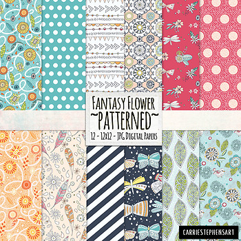 Whimsical Fantasy Patterned Backgrounds, Vibrant Digital Paper
