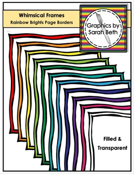 Whimsical Frames - Rainbow Brights Page Borders - Clipart Borders