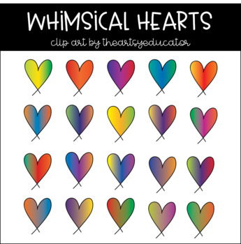 Whimsical Gradient Hearts Clip Art