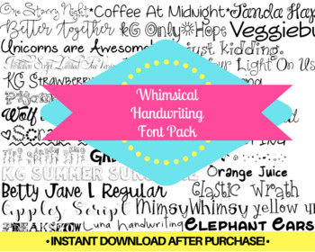 Whimsical Handwriting Font Pack Themed Computer .TTF Font Pack - 30 Styles
