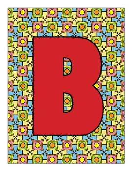 Letters with Colorful Background Patterns
