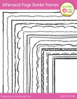 Whimsical Page Border Frames: Black and White Digital Frames