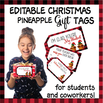 Whimsical Pineapple Christmas  Labels for student and coworker gifts *editable*