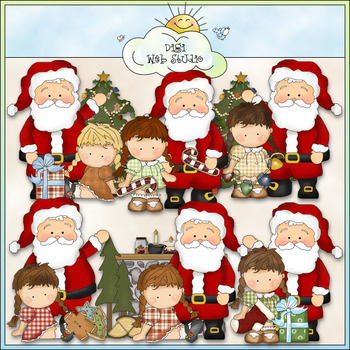 Whimsical Santa And Agnus Clip Art - CU Colored Clip Art