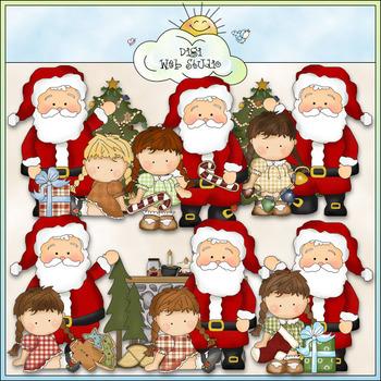 Whimsical Santa And Agnus Clip Art - CU Colored Clip Art