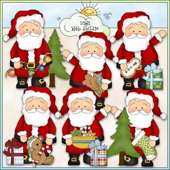 Whimsical Santa Clip Art Bundle - 3 Colored Clip Art Sets