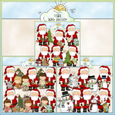 Whimsical Santa Clip Art Bundle - 3 Colored Clip Art Sets