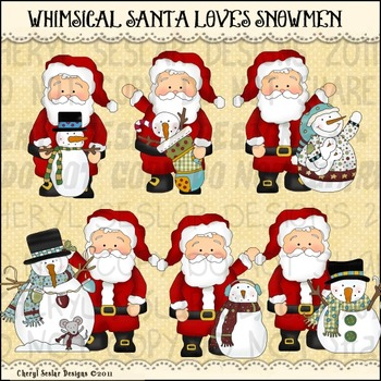 Whimsical Santa Loves Snowmen CLIPART COLLECTION