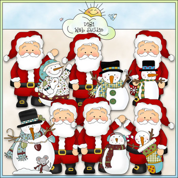 Whimsical Santa Loves Snowmen Clip Art - CU Colored Clip Art