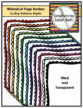 Whimsical Scallop Page Borders - Rainbow Brights Borders -