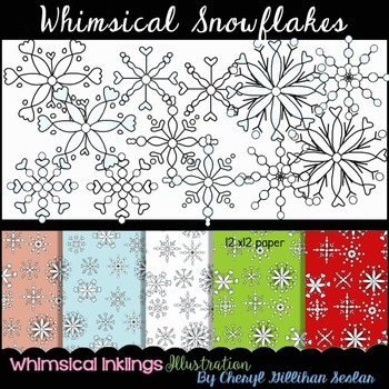 Whimsical Snowflakes Clipart and Digital paper Collection
