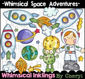 Whimsical Space Adventures Clipart Collection