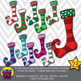 Whimsical Christmas Stockings Clipart