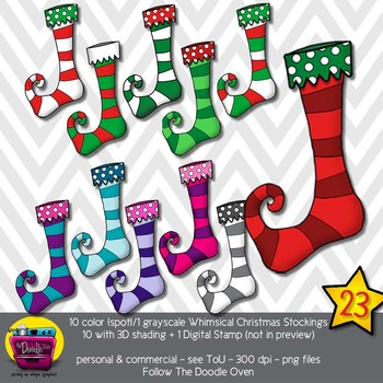 Whimsical Christmas Stockings Clipart