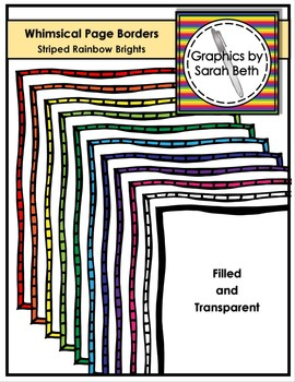 Whimsical Striped Page Borders - Rainbow Brights Borders -