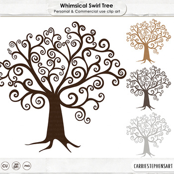 Tree Clip Art, Whimsical Swirl Tree ClipArt, Large Hand Drawn Image