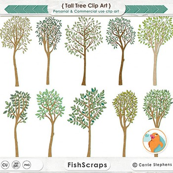 Whimsical Tall Tree ClipArt, Tree Illustration, Fantasy Fo