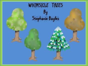 Whimsical Tree Clipart: A Collection of four Whimsical seasonal Trees in Clipart
