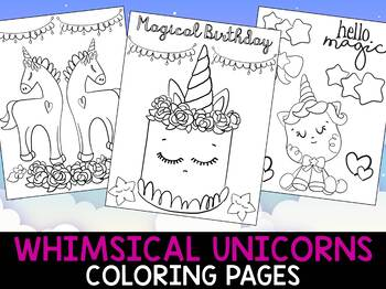 Whimsical Unicorns and Birthday Coloring Pages - The Crayon Crowd