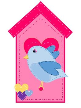 Whimsical Valentine Birds and Birdhouse