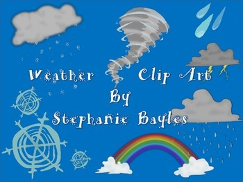 Whimsical Weather Clip Art: Seven Different Weather Related Graphics
