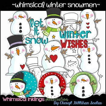 Whimsical Winter Snowmen Clipart Collection