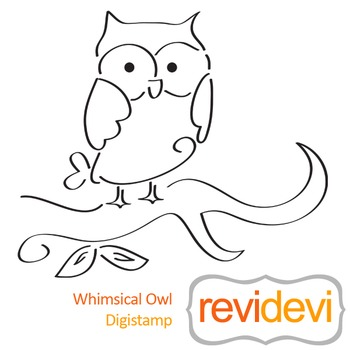 Whimsical owl (digital stamp, coloring image) S023