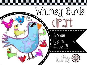 Whimsy Birds Clipart & Digital Paper