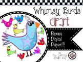 Whimsy Birds Clipart & Digital Paper
