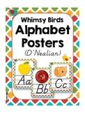 Whimsy Birds D'NEALIAN Alphabet Letter Posters